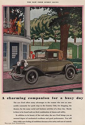 ORIG VINTAGE MAGAZINE AD/ 1930 FORD SPORT COUPEillustrator- James  Williamson - Product Image