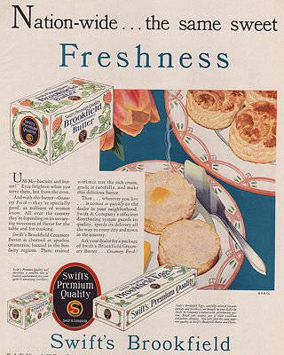 ORIG VINTAGE MAGAZINE AD/ 1930 SWIFT'S BROOKFIELD BUTTER ADillustrator- N/A - Product Image