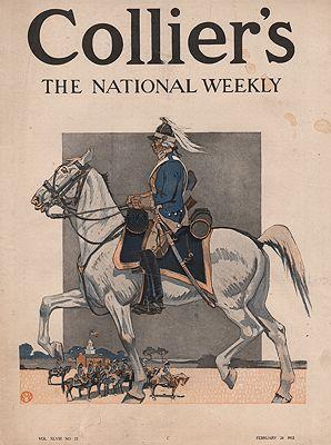 ORIG VINTAGE MAGAZINE COVER/ COLLIER'S - FEBRUARY 24 1912illustrator- Edward  Penfield - Product Image