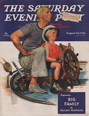 ORIG VINTAGE MAGAZINE COVER/ SATURDAY EVENING POST - AUGUST 30 1941illustrator- Charles  Dye - Product Image